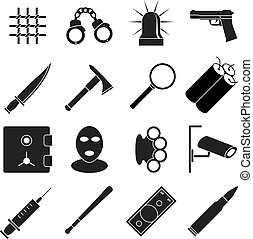 Crime vector icons set Gun and handcuff, magnifying glass,...