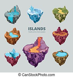 Isometric 3d set of flying islands Landscape cartoon nature,...