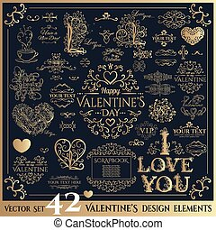 Happy Valentines day. Golden lettering. - Happy Valentines...