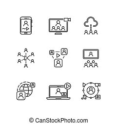 Video conference and online communication vector line icons...