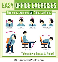 Office exercises with businessman character. Vector...