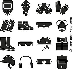 Job safety equipment vector icons set. Safety helmet,...