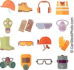 Flat job safety equipment vector icons set Safety icon,...
