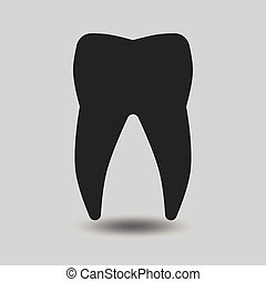 Vector tooth silhouette. Tooth dental, healthy tooth, icon...
