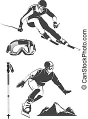 Vector elements for vintage ski and snowboard labels emblems