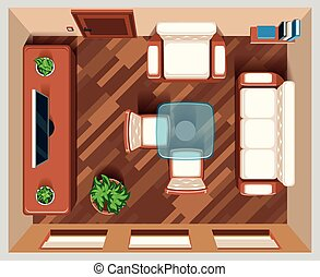 Living room with furniture top view. Interior room for...