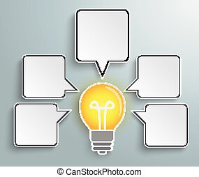 Bulb Quadratic Speech Bubbles - Infographic design with bulb...