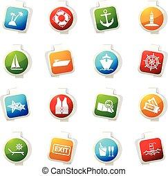 Cruise icons set