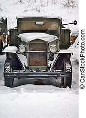 old truck under snow - old world war two soviet truck under...