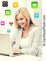 businesswoman with laptop - picture of smiling businesswoman...