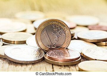 European currency coins - Extremely close up view of...