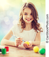 happy girl with brush coloring easter eggs - easter, holiday...