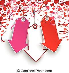 Confetti Hearts Garlands Price Stickers