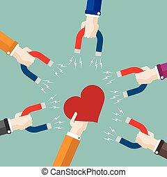 Flat Hands Magnets Heart
