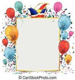 Golden Paper Frame Balloons Carnival - Golden frame banner...