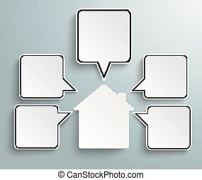 House Quadratic Speech Bubbles - Infographic design with...