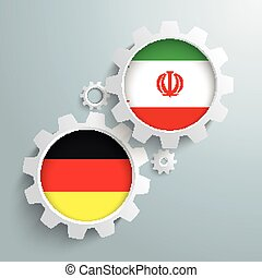Iran Germany Partnership Gears - White gears with german and...