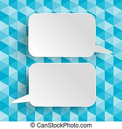 Low Poly Design 2 Speech Bubble - Lowpoly design with blue...