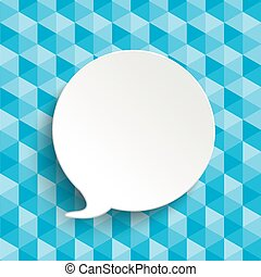 Low Poly Design Speech Bubble - Lowpoly design with blue...