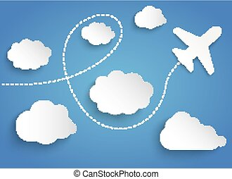Paper Clouds Flying Plane - Clouds with paper jet on the...