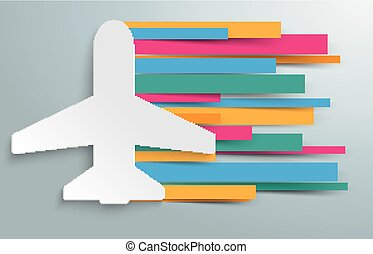 Paper Jet Colored Stripes - White paper jet with paper...