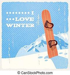 Retro Winter Landscape with Snowboard