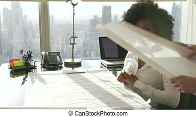 7 Female Colleagues Architects Reading Blueprint Plans In...
