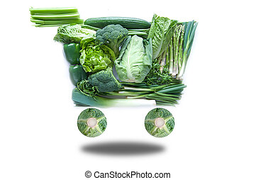 Fresh green grocery cart - Fresh green groceries in the...
