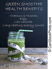 Green smoothie health benefits - Healthy green smoothie with...