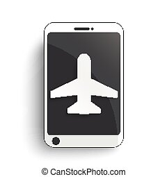Smartphone Plane - Smartphone with plane on the white...