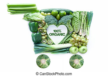 Organic groceries concept - Fresh green groceries in the...