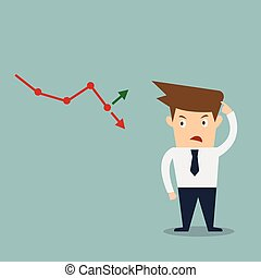 business man confused stock market arrow