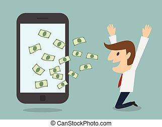 business man earn money from smart phone online business...