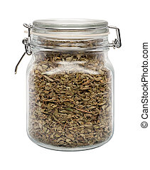Dried Oregano Leaves in a Glass Can