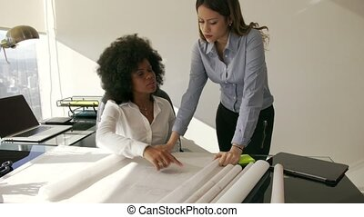 9 Female Architect Colleague Shows Building Plan To Manager...