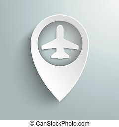 White Location Marker Plane - Infographic with white...