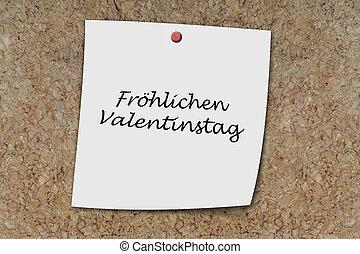 Fröhlicher valentinstag written on a memo - Fröhlicher...