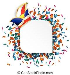 White Round Rectangle Confetti Carnival - White round...