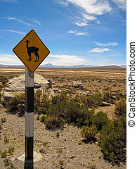 A Traffic Sign With a Lama in The Andes Of Peru