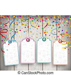 Carnival Confetti Ribbons 4 Price Stickers - Confetti with...