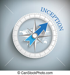 Compass Inception - Compass with text inception on the gray...