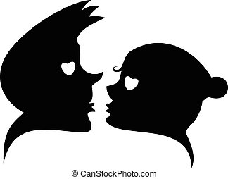 Love silhouette simbol - Loving couples and hearts...