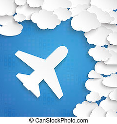 Flight To The Clouds - Paper clouds with plane on the blue...