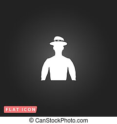 cowboy vector illustration - Cowboy White flat simple vector...