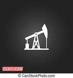 Oil derrick vector icon - Oil derrick White flat simple...