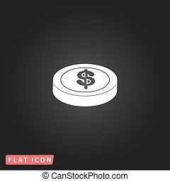 casino chip isolated - Casino chip. White flat simple vector...