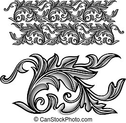 Vector vintage baroque engraving floral ornament - endless...
