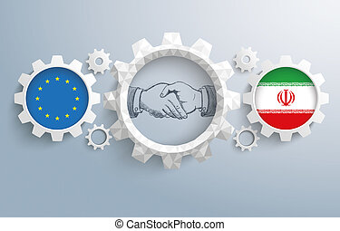 Iran European Union Partnership Gear Handshake - EU and...
