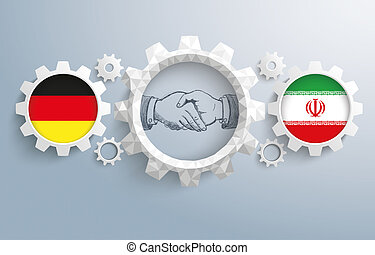 Iran Germany Partnership Gear Handshake - German and iranian...