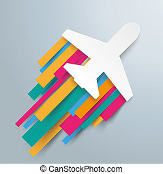 Paper Jet Colored Stripes Jetstream - White paper jet on the...